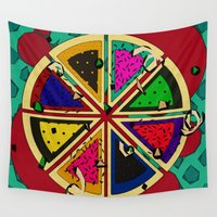 pie Wall Tapestries featuring Pizza Patterned Pie by Glanoramay