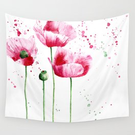 Expressive poppies || watercolor Wall Tapestry