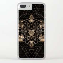 Bat in Sacred Geometry - Black and Gold Clear iPhone Case