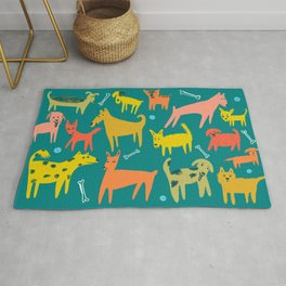 Woof! Cute Colorful Dogs Drawing Rug