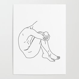 Shy - Black on White Poster