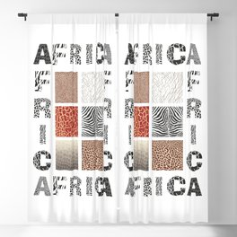 Africa - background with text and texture wild animal Blackout Curtain