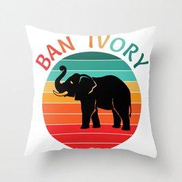Ban Ivory Save Elephant Tusks Animal Wildlife Conservation  Throw Pillow