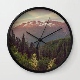 Mountain Sunset Bliss - Nature Photography Wall Clock