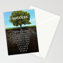 Success Tree Motivational Wall Art Entrepreneur Hustle Motivation Stationery Cards