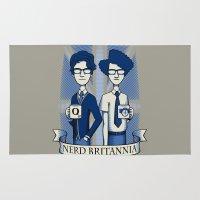 nerd Area & Throw Rugs featuring Nerd Britannia by Doodle Dojo