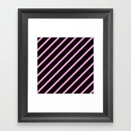 Pink & Black Stripes Framed Art Print