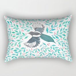 Magpie and Berry Branches Rectangular Pillow