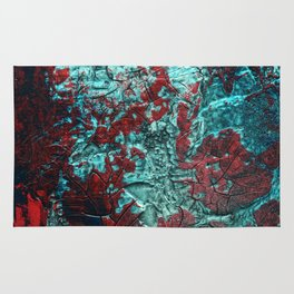 Closer // acrylic texture painting, red & teal Rug