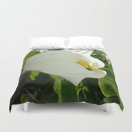 A Large Single White Calla Lily Flower Duvet Cover