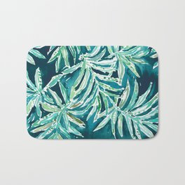 SANTA CRUZIN' Navy Tropical Palm Leaves Bath Mat