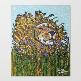 Lion in Lavender Painting Canvas Print