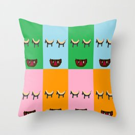 Smiling monster faces Throw Pillow
