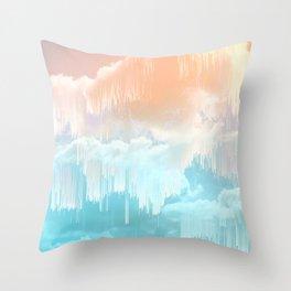 Frozen Sky Glitch - Icy blue & peach #glitchart #decor Throw Pillow