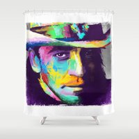 stevie nicks Shower Curtains featuring Stevie Ray Vaughan  by Jon Finlayson