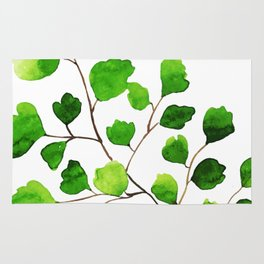 Green watercolor maidenhair fern Rug