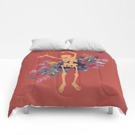 Gold Skeleton Orange Flower by Black Jungle Comforters