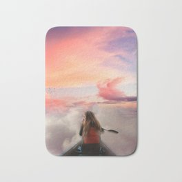 Kayaking in the clouds Bath Mat