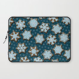 Frosted Gingerbread on Winter Night Sky Laptop Sleeve