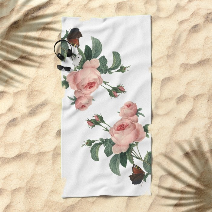 Butterflies in the Rose Garden on White Beach Towel