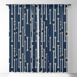 Dotted Lines in Navy, Cream and Orange Blackout Curtain