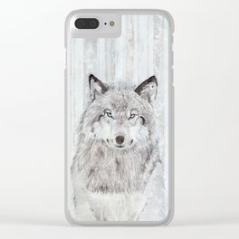 """Watercolor Painting of Picture """"Wolf"""" Clear iPhone Case"""