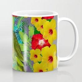 RED-YELLOW HIBISCUS & GREEN PARROT JUNGLE GRAY  ART n Coffee Mug