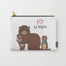 I Love You Mom. Funny brown kids otters with fish on white background. Gift card for Mothers Day. Carry-All Pouch