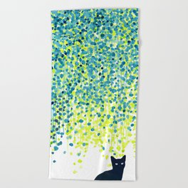 Cat in the garden under willow tree Beach Towel