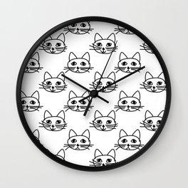 Cats I - Black on White Wall Clock