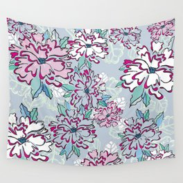 Blue Fresh Florals Wall Tapestry