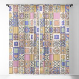 Hand Drawn Floral Patchwork Sheer Curtain