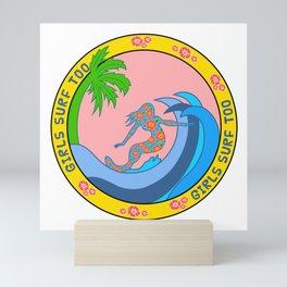 Girls Surf Too,solid color Mini Art Print