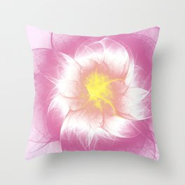 Pink Flower Fractal Throw Pillow