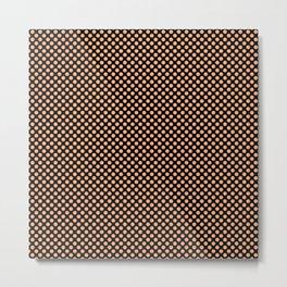Black and Peach Cobbler Polka Dots Metal Print