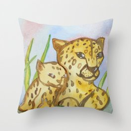 Cheetahs - Mother and a Cub Throw Pillow