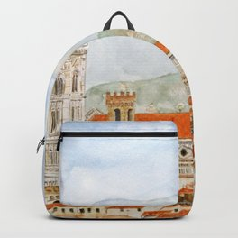 Italy Florence Cathedral Duomo watercolor painting Backpack