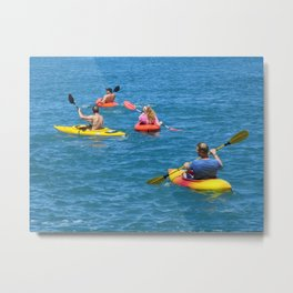 Kayaking Friends Metal Print
