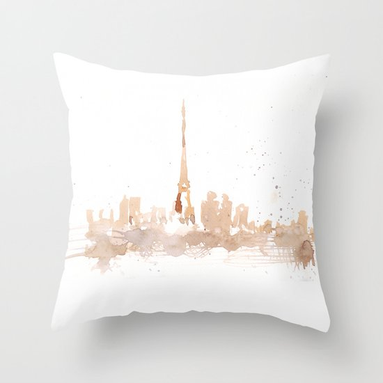 Watercolor landscape illustration_Paris Throw Pillow
