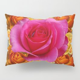 OLD GOLD-YELLOW & PINK ROSES ON GREY Pillow Sham