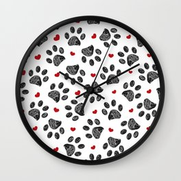 Seamless black paw print with red hearts Wall Clock