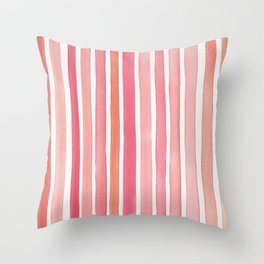 Pretty in Pink Watercolor Stripes Throw Pillow