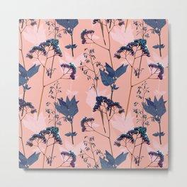 Peachy garden floral pattern Metal Print