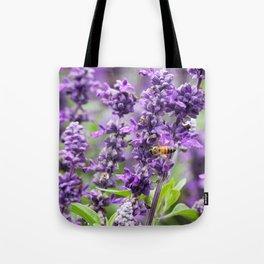 A Honeybee on a Blanket of Purple Tote Bag