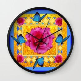 CERULEAN BLUE BUTTERFLIES SPRING PINK ROSES Wall Clock