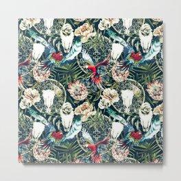Dark pattern boho skull tropical Metal Print