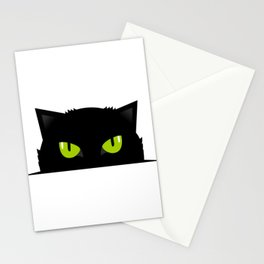 Black cat follow you Stationery Cards