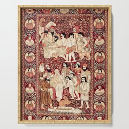 Kerman South Persian Pictorial Rug with Joseph Serving Tray