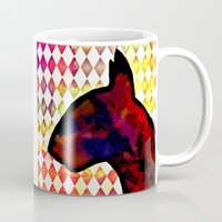 bull terrier Mugs featuring Bull Terrier Jester by Erin Conover