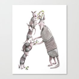 A is for Armadillos! Watercolor ABCs from the Laugh-A-Bit Alphabet Canvas Print